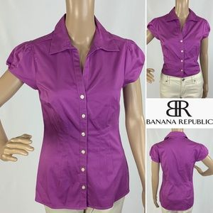 BANANA REPUBLIC Magenta s/s tailored fit blouse